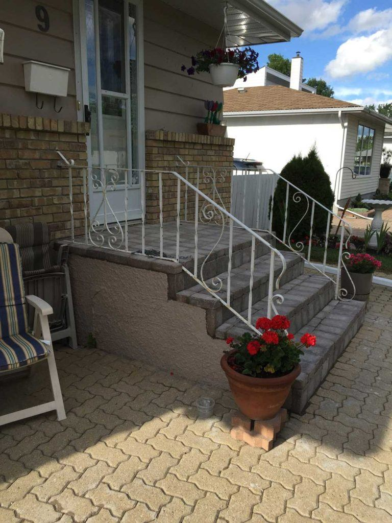 Renewed home outdoor stairs with custom interlock