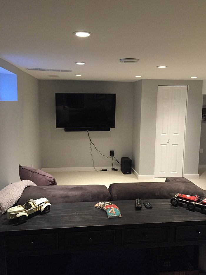 Newly complete basement rec-room renovation