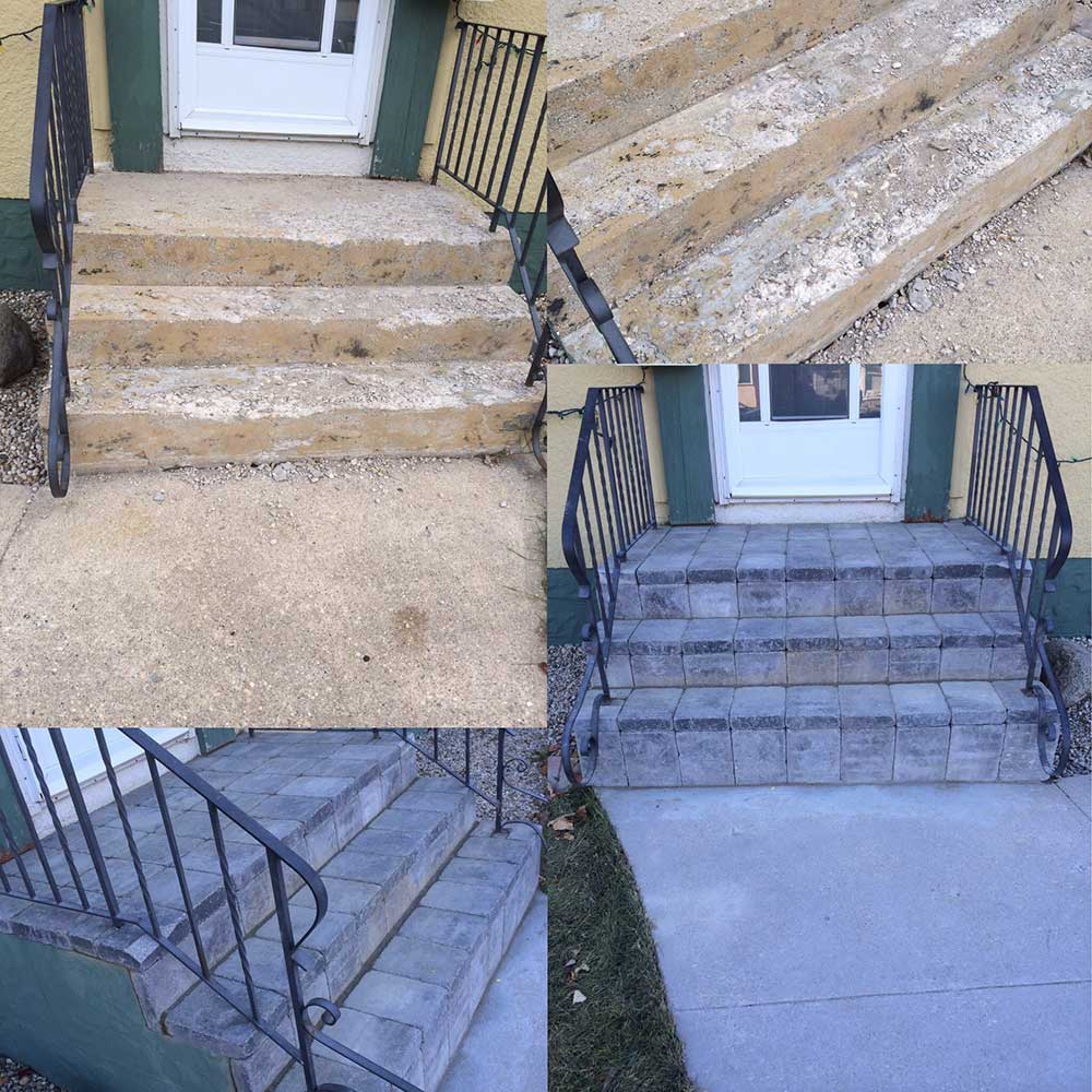 a collage of images showing an old concrete step being replace by a new stone interlock step