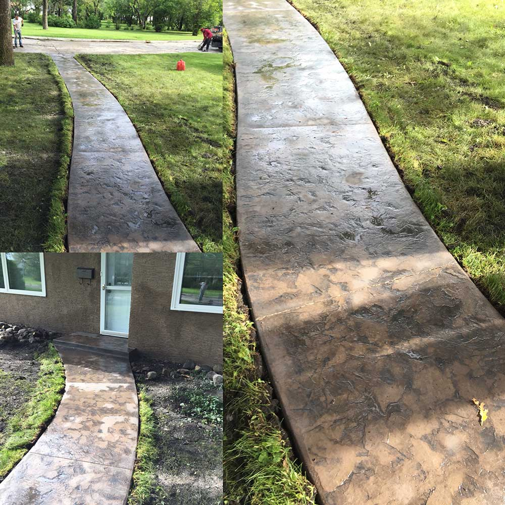 a collage of images showing the construction of a narrow concrete path through the grass with a textured surface