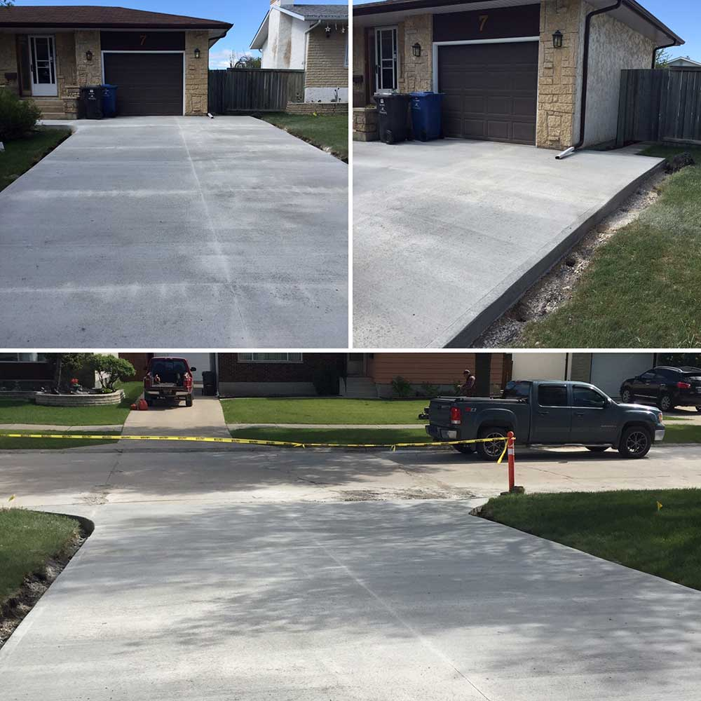 a completed new large concrete driveway outside of a residential home