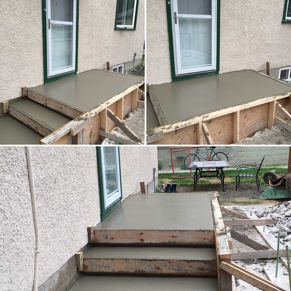 a freshly poured concrete step outside of a residential home