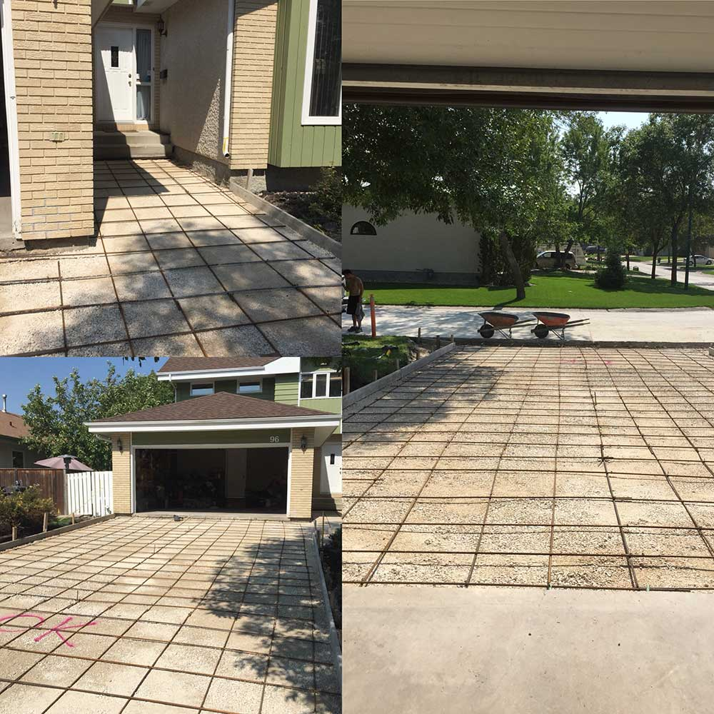 a collage of images showing a large driveway and walkway with a grid of rebar before concrete is poured