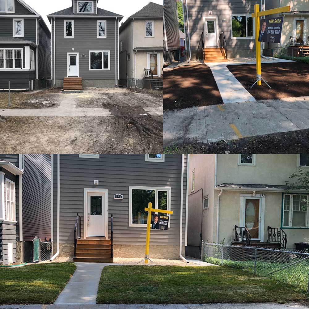 a collage of images showing a concrete sidewalk and walkway being built in front of a new house