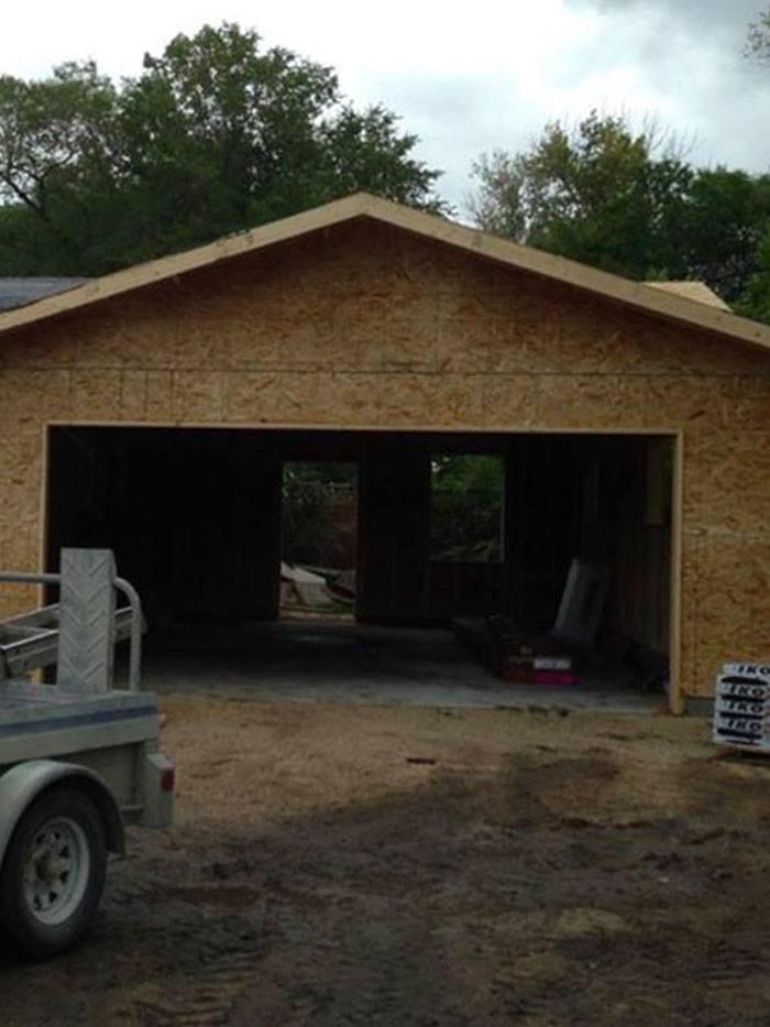a new wood garage build in progress