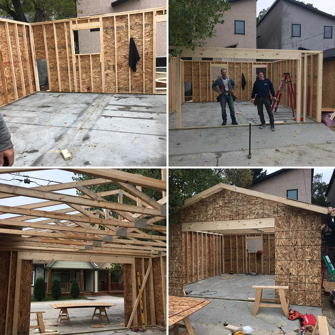 A grid of 4 images showing various stages of a garage being constructed